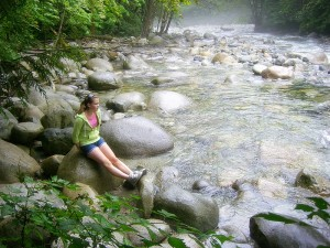 Kayla beside Lynn Creek