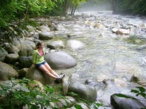 Kayla beside Lynn Creek