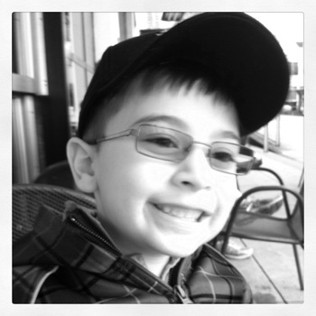 Aidan and his new glasses, December 2010