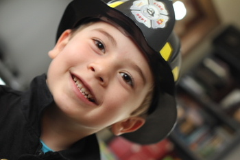 Aidan in his fireman costume, October 2010