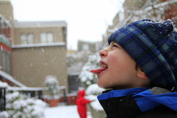 Aidan catching snowflakes, November 2010