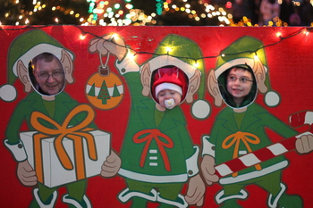 Grandpa, Quinlan, and Aidan at the Festival of Lights in VanDusen Gardens, December 2010
