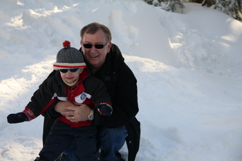 Grandpa and Quinlan snowshoeing at Mount Seymour, December 2010